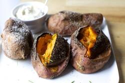 Slow-roasted sweet potatoes