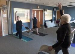 Paul Mross leads yoga class