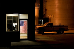 American flag in office at night