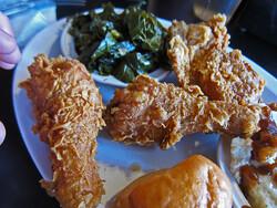 Fried chicken, collard greens