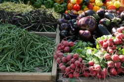 vegetables at a farmers' market