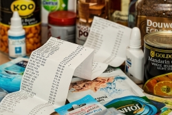 grocery receipt and groceries