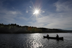 Canoe on lake in fall