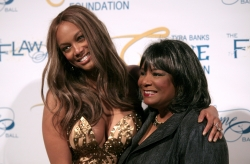 Television personality and fashion model, Tyra Banks, left, and her mother Carolyn London,