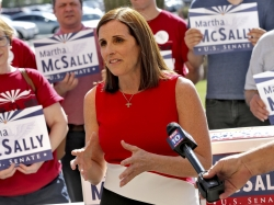 U.S. Rep. Martha McSally, R-Ariz., speaks after delivering her signatures to the Arizona Secretary of State's office Tuesday, May 29, 2018,