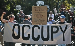 Protesters representing the Occupy Wall Street movement, rally