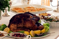Turkey and other Thanksgiving sides.