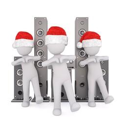 Santa figures with speakers