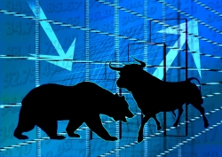 Graphic of a bear and a bull