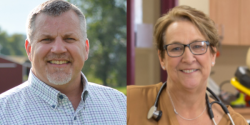 From left to right: Rob Stafsholt, R-New Richmond,photo courtesy of Rob Shafsholt,and incumbent Patty Schachtner, D-Somerset,photo courtesy of Patty Schactner.