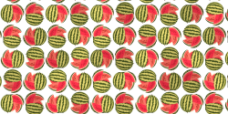 An illustrated image of a whole watermelon sliced open and repeated in rows as a pattern.