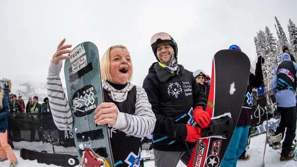 Wisconsin Special Olympian Daina Shilts celebrates her gold medal win at the X Games