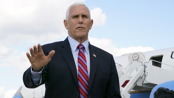 Vice President Mike Pence speaks to members of the media.