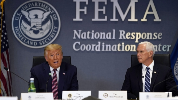 President Donald Trump at FEMA headquarters