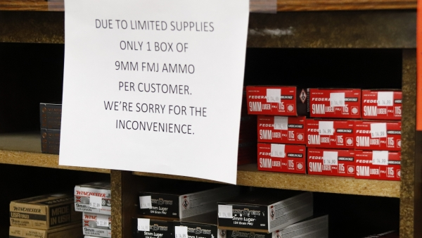 Signs point out quantity limits on certain types of ammunition