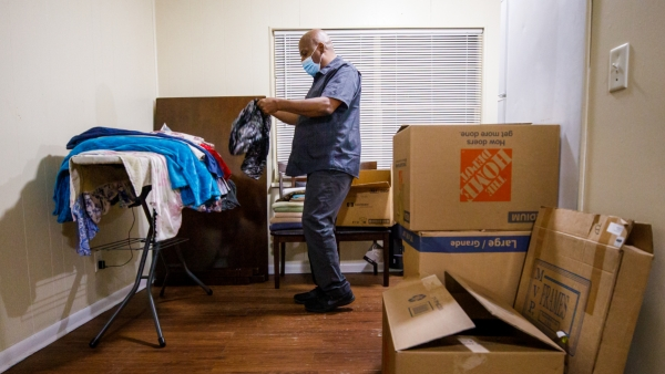 Gregory Curry has had almost all his belongings in boxes and in a storage locker since he was evicted in August. He