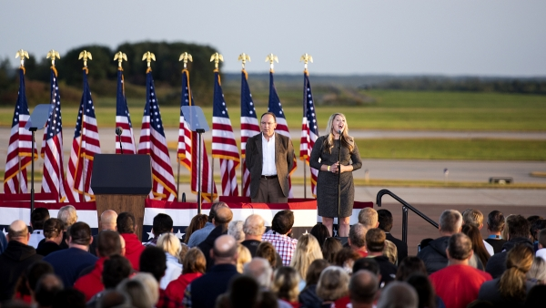 U.S. Rep. Tom Tiffany at a campaign rally for President Donald Trump in Mosinee
