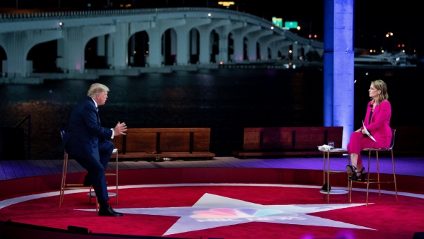 President Trump speaks during an NBC News town hall moderated by Savannah Guthrie at the Perez Art Museum in Miami. At