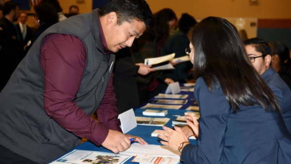A man looks at information about the census on Oct. 28, 2019 at Journey House