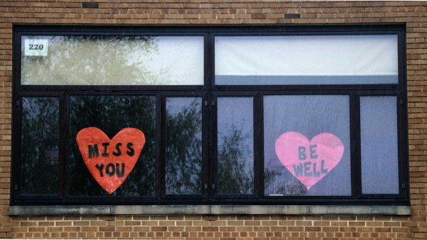 Signs of encouragement in windows of a Madison school