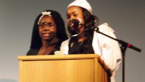 Ryaah Wyatt and Krystyn Jones of Trend N Topic accept the award for R & B Group of the Year