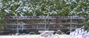 garden fench with snow