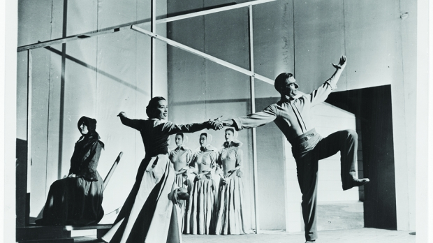 """The Martha Graham Dance Company performs """"Appalachian Spring"""" on the stage of the Library's Coolidge Auditorium on Oct. 30, 1944. The Elizabeth Sprague Coolidge Foundation Collection, Music Division."""