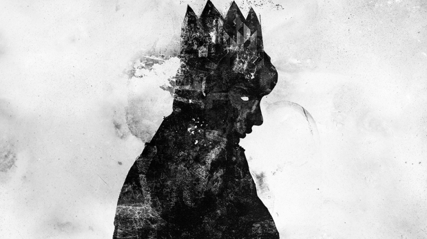 graffiti silhouette of a boy king
