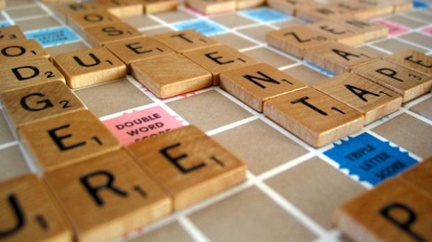 A Scrabble board