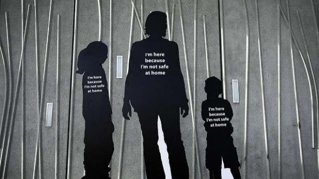 Cutouts of victims of domestic violence