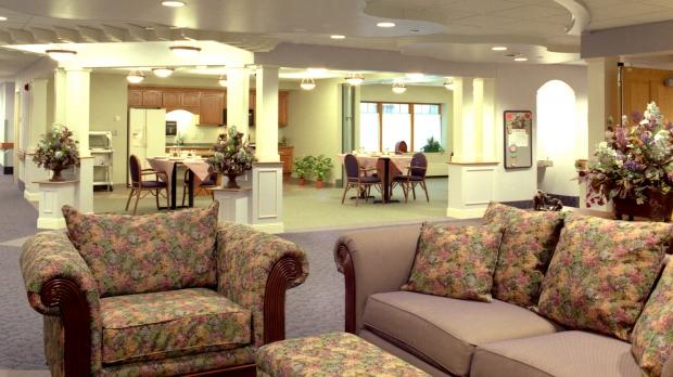 A common area in a senior home