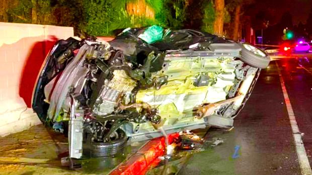 A two-vehicle collision in Garden Grove, California
