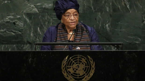 Liberian President Ellen Johnson-Sirleaf addresses the United Nations General Assembly