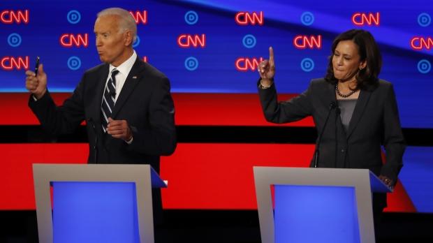 Kamala Harris and Joe Biden during a Democratic presidential debate