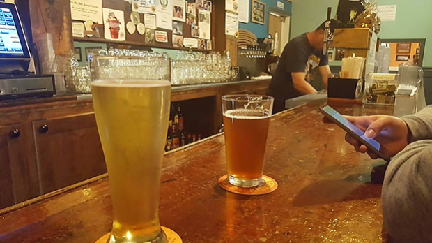 beers on a bar