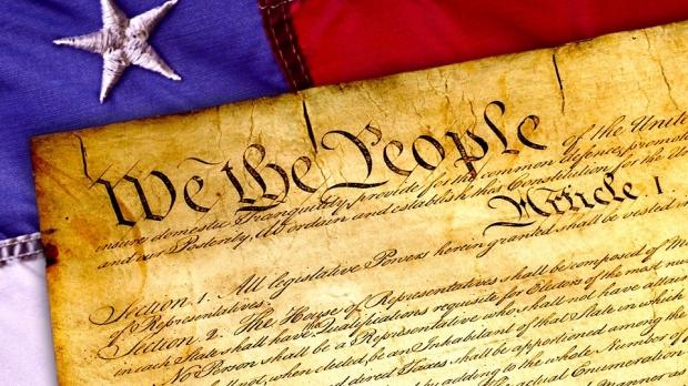 U.S. Constitution on flag