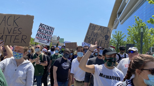 Protesters walkat the march and rally that theMilwaukee Bucks organized at the Fiserv Forum on Sunday afternoon, June 7, 2020.