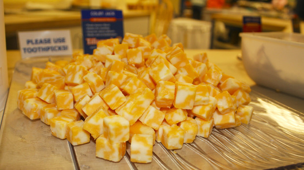 cubes of yellow cheese on a plate