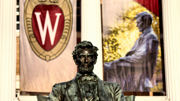 Abraham Lincoln looks out over Bascom Hill on campus.