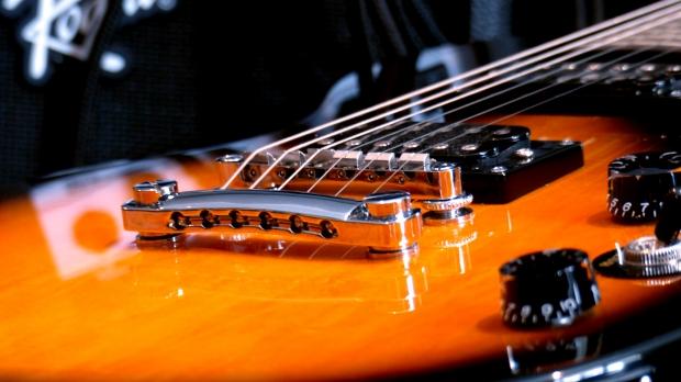 A guitar and an amplifier.