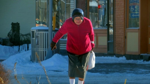 elderly, older, senior citizen, winter, cane, walking