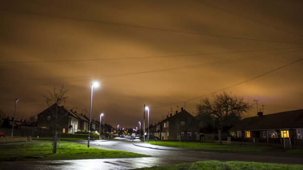 streetlights on a dark night