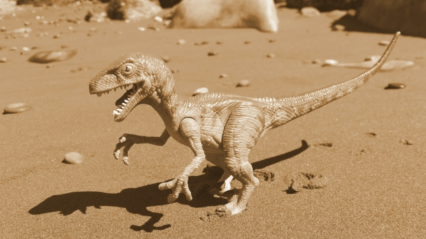 A toy of a velociraptor