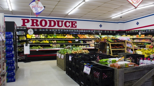 A brightly lit section of a Piggly Wiggly produce department.