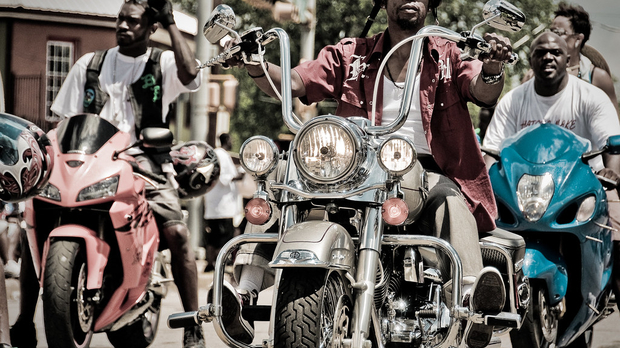 Motorcyclists participating in a Juneteenth parade in Texas