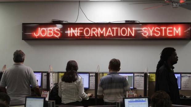 People standing at a job center