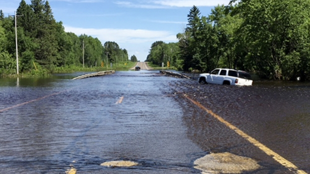 A flooded Wisconsin road