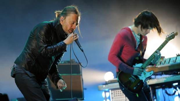 Thom Yorke, left, and Jonny Greenwood of Radiohead perform during the band's headlining set on the first weekend of the 2012 Coachella Valley Music and Arts Festival, Saturday, April 14, 2012, in Indio, Calif.