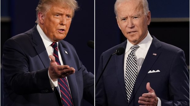 President Donald Trump, left, and former Vice President Joe Biden