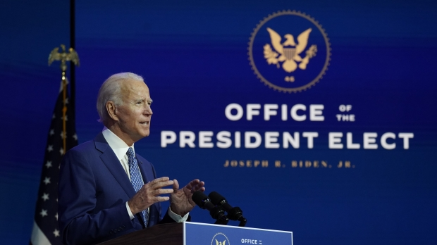 President-elect Joe Biden speaks at a podium